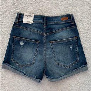 Sneak Peek Hi Rise Rolled Frayed Cuff Jean Shorts